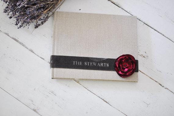 Mariage - Custom Boudoir Photo Album - Velvet Sash & Handmade Silk Flower Custom Book design by Claire Magnolia.