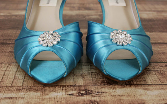 37fe01b097a Wedding Shoes -- Turquoise Peep Toe Kitten Heel Wedding Shoes with Simple  Rhinestone Adornment