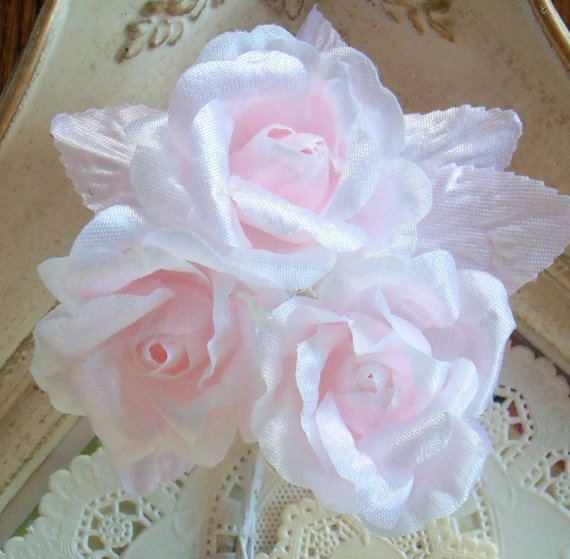 Mariage - Vintage Millinery / Barely Pink Roses / Stiff Fabric / Bridal