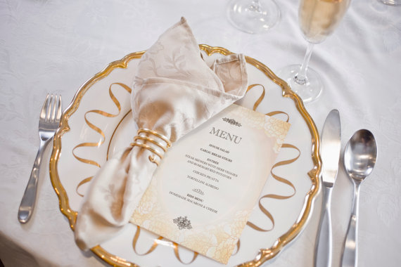 Mariage - Printable Wedding Menu -- Pink Champagne and Flowers, Blush and Gold, Floral, Roses, Peonies, Ballet