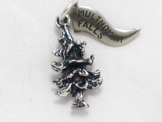 Свадьба - 3-D Pine tree forest Multnomah Falls in Bridal Veil Oregon tag travel theme bracelet charm or pendant sterling silver