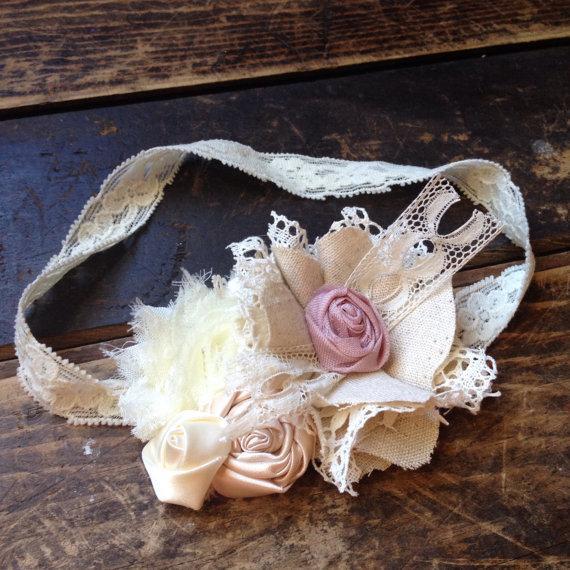 Boda - Dusty Rose & Cream Vintage Rosette Lace Fabric Flower Hair Bow, Girls Headband, Flower Hair Clip, Rustic Hair Flowers, Vintage Headband