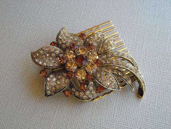 Wedding - DARLA  Art Nouveau Light Colorado Topaz Crystal Hair Comb