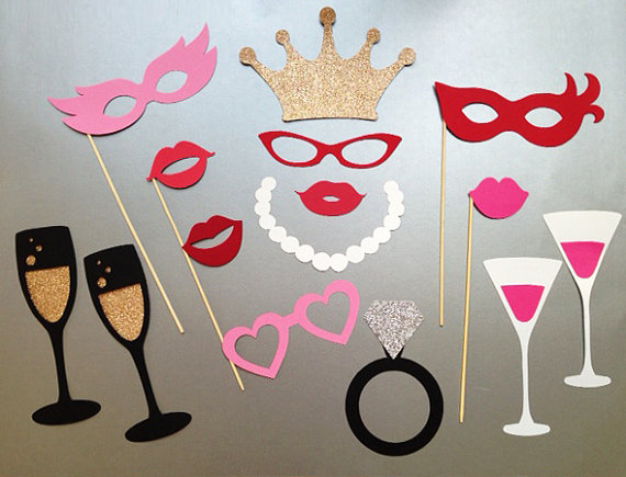Mariage - Bachelorette Party Photo Booth Prop Wedding Photo Booth Props Set of 15