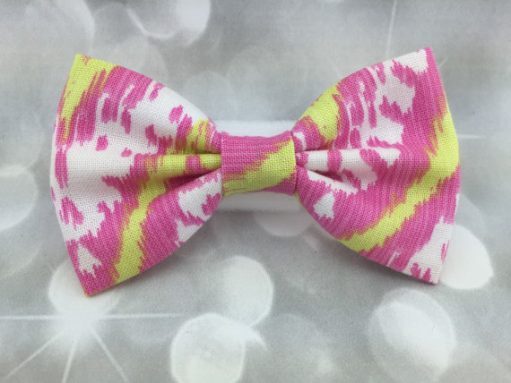 Свадьба - Pink Lemonade Ikat Small Pet Dog Cat Bow / Bow Tie
