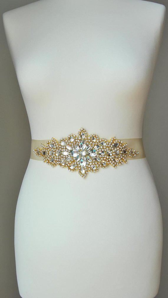 Свадьба - Luxury Gold Crystal Bridal Sash,Wedding Dress Sash Belt,  Rhinestone Sash,  Rhinestone Bridal Bridesmaid Sash Belt, Wedding dress sash