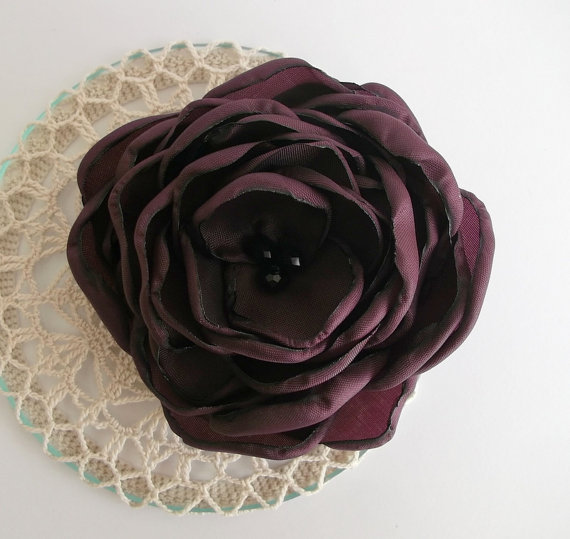 Свадьба - Bordo Burgundy Red fabric flower in handmade, Bridesmaids Hair Shoe Clip, Dress accessory Brooch, Weddings, Birthday Christmas Unique Gift