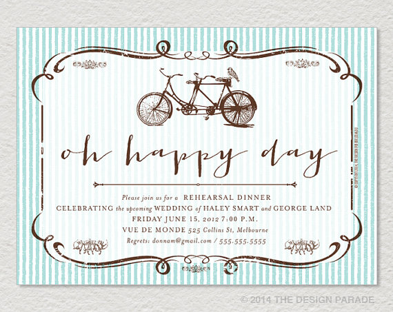Wedding - PRINTABLE Oh Happy Day - Rehearsal Dinner Invitation. Tandem Bike, stripes. Blue.