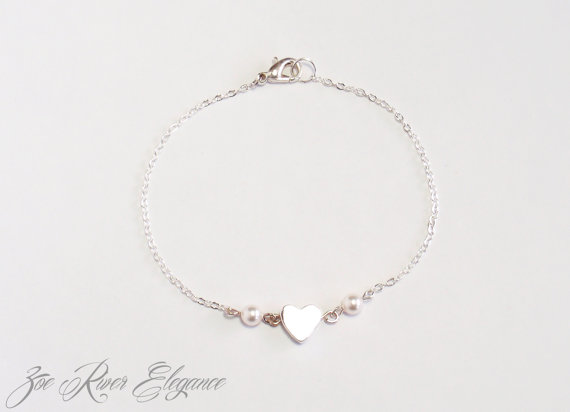 Wedding - SALE!  Tiny pearl & silver heart bracelet, Low shipping! Free giftcard, free gift wrapping available