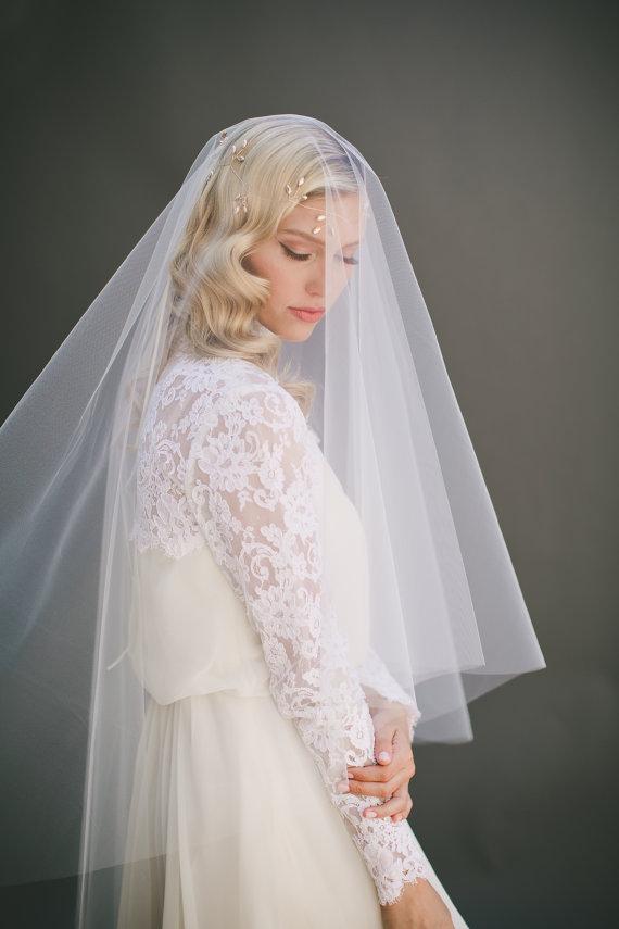زفاف - Drop Wedding Veil, Simple Tulle Veil, Circle Veil Two Tier Bridal Veil, Cathedral Veil, Long Veil Bridal Accessory, Wedding Hair, Veil #1106
