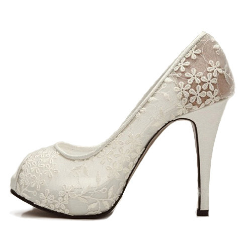 Mariage - Sexy see through lace bridal wedding shoes party prom pumps , white lace open peep toe shoes