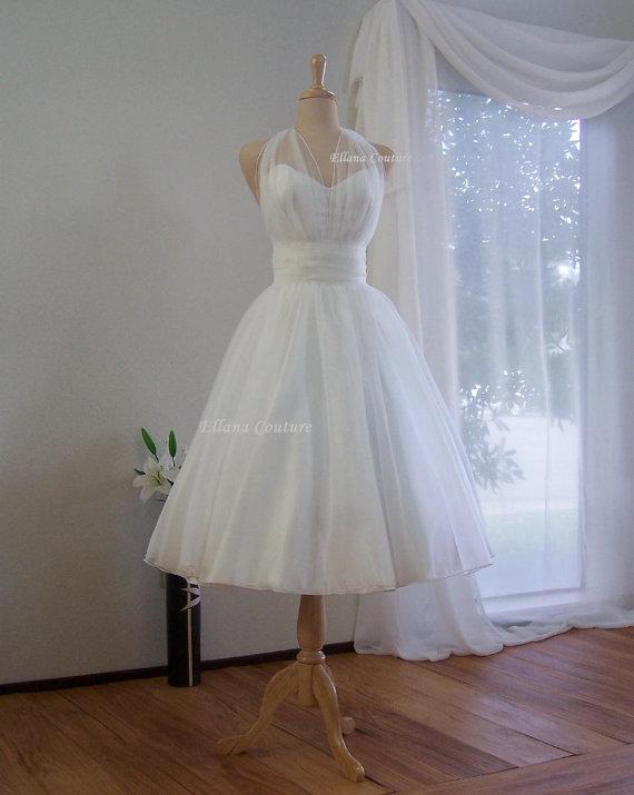 Hochzeit - Marilyn - Retro Inspired Tea Length Wedding Dress. Vintage Style Organza Bridal Gown.