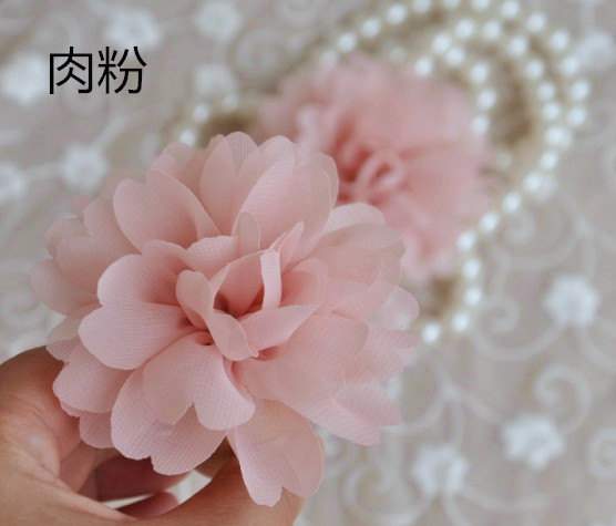 Mariage - 2pcs blush pink chiffon poeny flowers, chiffon rosette, chic chiffon fabric flowers, wedding decors, bouquet flowers