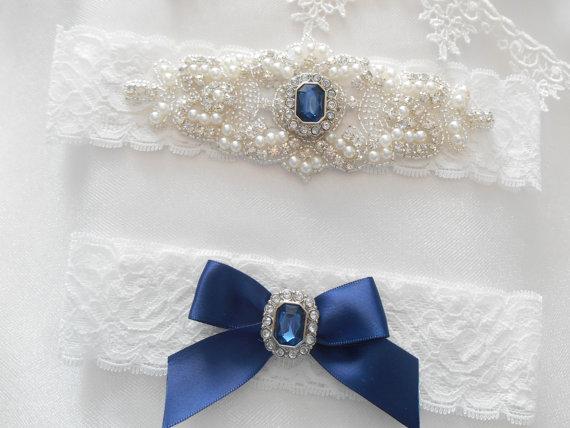 Mariage - Wedding Garter Set Monogram Option  Lingerie Lace With Classic Pearls and  Rhinestones Bridal Garter Set.