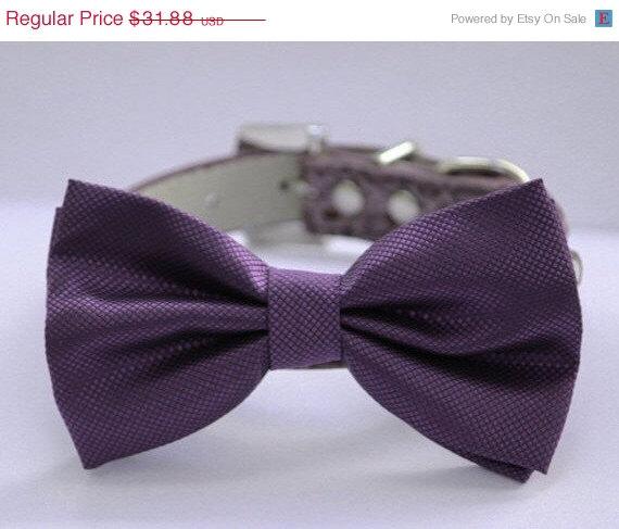 Hochzeit - Purple wedding dog collar,  Dog Bow tie attach to high quality leather collar, Wedding accessory, Xlarge dog collar