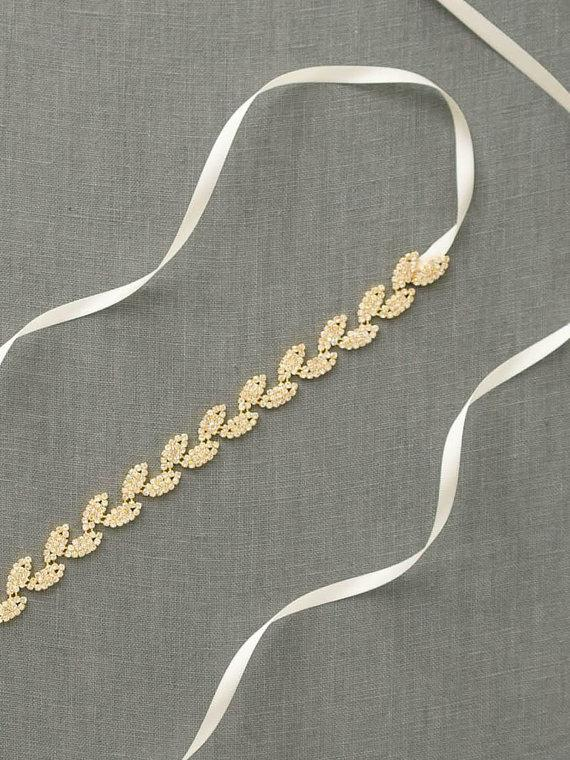 Hochzeit - Gold Leaves Bridal Belt