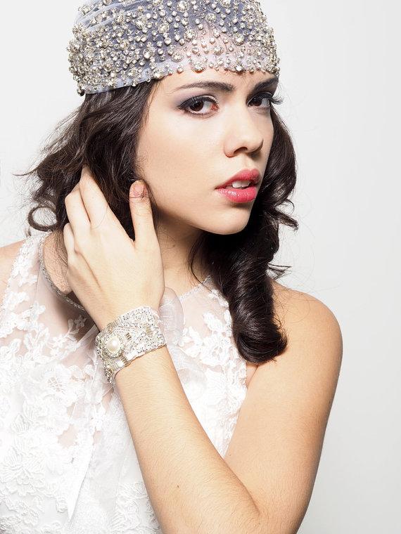 Hochzeit - SERAPHINA, Crystal Encrusted Veil Cap, Wedding Veil Cap, Bridal Veil Cap, Free Shipping