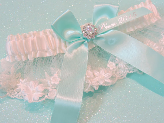 Hochzeit - Light Aqua and Ivory Prom Garter, Prom Garters, Aqua Beaded Prom Garter, Wedding Garter, Bridal Garter, Garter for Prom