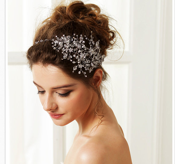 Glamour Bridal Headpiece Crystal Rhinestone Hair Vine Wedding Tiara Side Headband