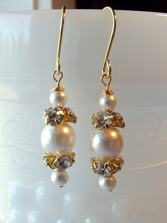 Mariage - White Swarovski Pearl and Rhinestone Earrings, Bridal Wedding Bridesmaid Jewelry, Mom Sister Jewelry, Gold