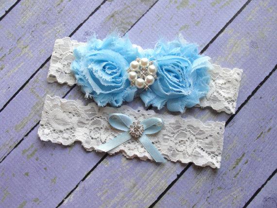 Mariage - ON SALE Something Blue Garter, Ivory Garters, Garter Sets, Blue Garter, Wedding Garter Belt, Custom Garter, Baby Blue Garter, Something New