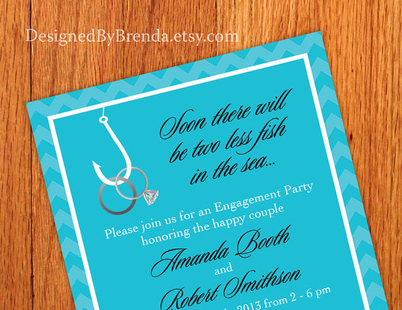 زفاف - Chevron Engagement Party Invitations - Two Less Fish in the Sea - Rings on Hook - Any Colors - Free Shipping - Also use for a bridal shower