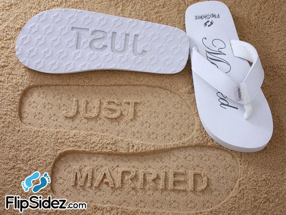 زفاف - JUST MARRIED -- Wedding & Honeymoon Sandals. Ready to Ship *Check size chart before ordering*