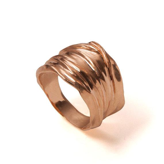 Mariage - 18k Rose Gold Ring ,Handmade, Unisex Ring , Wedding Ring , Wedding Band,Golden Rag, groom gold ring, Recycled gold, Organic, Natural