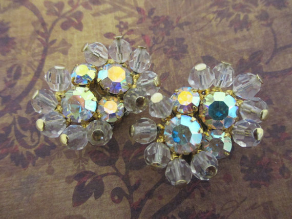 Hochzeit - Clear and gold rhinestone cluster shoe clips