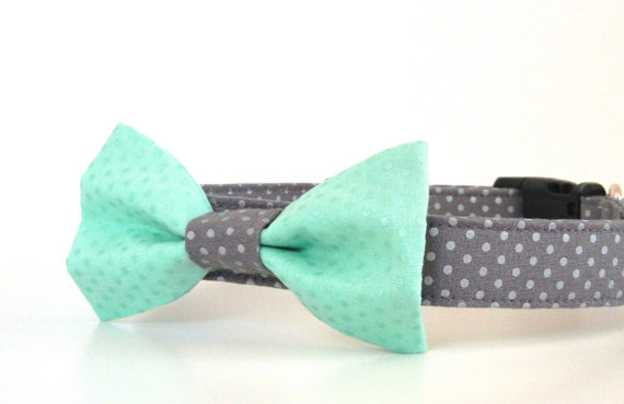 زفاف - Mint Green and Gray Metallic Silver Polka Dot Bow Tie Dog Collar Wedding Accessories Made to Order
