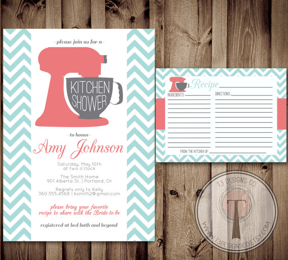 Kitchen shower invitation and recipe card kitchen shower bridal kitchen shower invitation and recipe card kitchen shower bridal shower wedding showering invitation invite recipe card filmwisefo