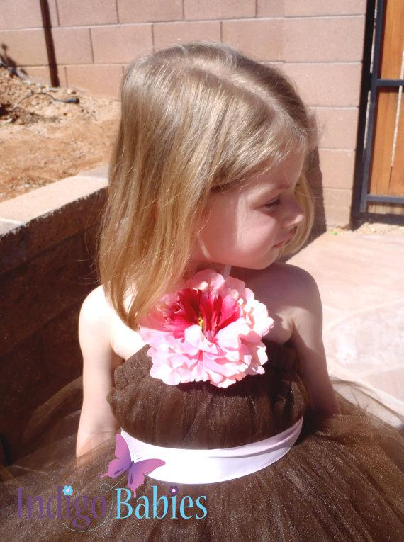 Wedding - Tutu Dress, Flower Girl Dress, Chocolate Brown Tulle, Delicate Pink Ribbon, Pink Silk Flower, Portrait Dress, Wedding Flower Girl Dress