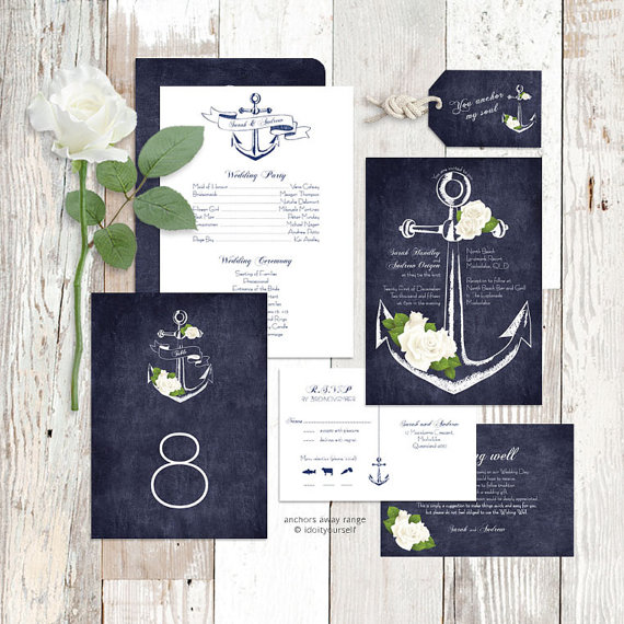 Wedding - wedding invitation suite printable nautical rose floral sea invite, reception decor or ceremony package set diy - anchors away/aweigh design
