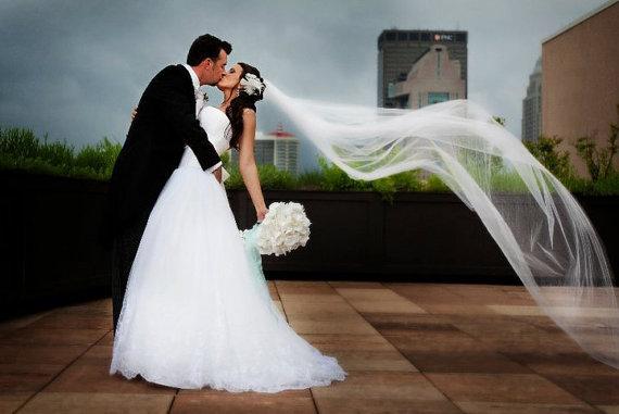 Свадьба - Single layer cathedral elegant wedding bridal veil 108 white, ivory or diamond