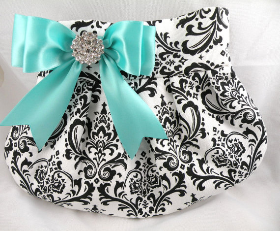 Mariage - Wedding Bride Bridesmaid Pleated Clutch-Purse  MADISON DAMASK Black-White with Diamond Blue-Aqua-Light Turquoise Satin Bow & Clear Crystal