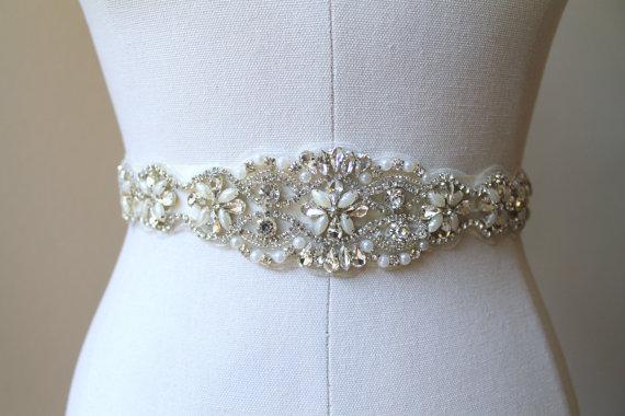 Mariage - Bridal beaded crystal, pearl sash. Rhinestone applique wedding belt.  VINTAGE ELEGANCE