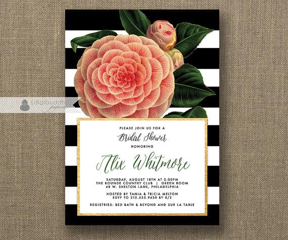 Pink Bridal Shower Invitation Vintage Flower Black U0026 White Stripes Gold  Metallic Modern FREE PRIORITY SHIPPING Or DiY Printable   Alix