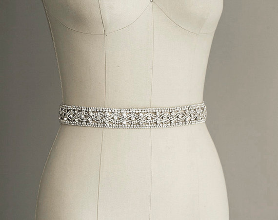 Priscilla crystal sash belt bridal gown belt long for Sparkly belt for wedding dress