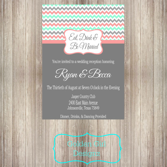 Diy printable eat drink and be married chevron wedding reception diy printable eat drink and be married chevron wedding reception only invitation digital file only multiple colors available stopboris Choice Image
