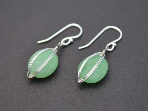 Wire Wrapped Beaded Earrings | Sale Green Aventurine Wire Wrapped Earrings Wedding Earrings