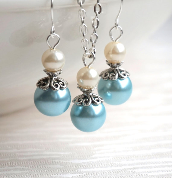 Mariage - Light Blue Ivory Bridesmaid Jewelry Set Necklace Earrings Light Blue Ivory Set Bridesmaid Gift Flower Girl Set Pearl Jewelry Beach Wedding
