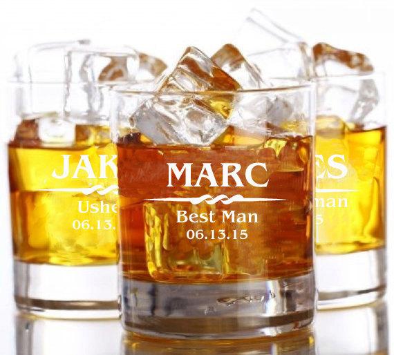 Hochzeit - 5 Personalized Rocks Glasses, Whiskey Glass Set, Groom Gift, Groomsmen Wedding Gift, Gifts for Him, Rocks Glasses, Custom Monogram Glasses