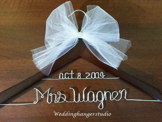 2 line wedding dress hanger with date name hanger bride for Wedding dress hanger name
