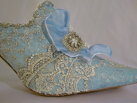 Wedding - Marie Antoinette themed wedding shoes in pale blue and  silver sparkles