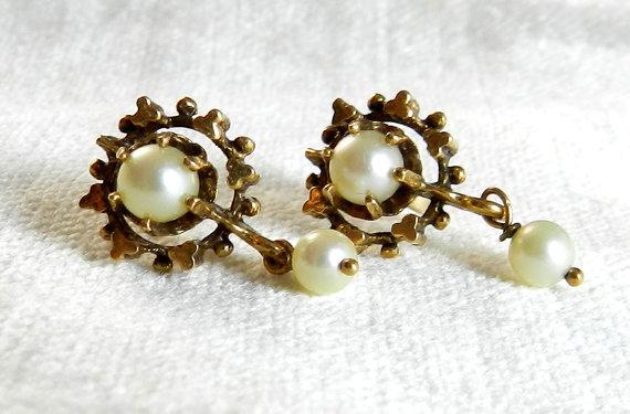 Mariage - Antique Earrings Art Deco Pearl Earrings Dangle Earrings Pierced Bridal Earrings 14K Gold Valentines Victorian Earrings