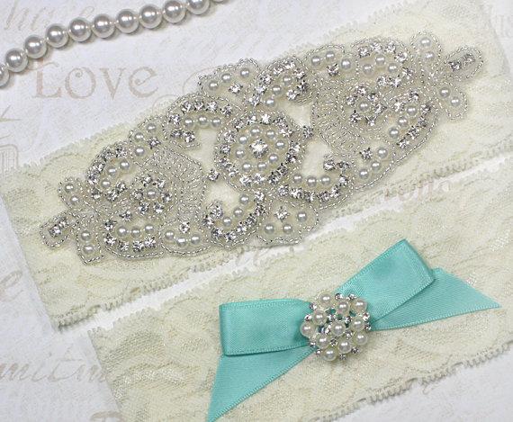 Mariage - SALE - ALANA II - Aqua Blue Garter, Stretch Lace Garter, Pearl Wedding Garter Set, Rhinestone Crystal Bridal Garters, Something Blue