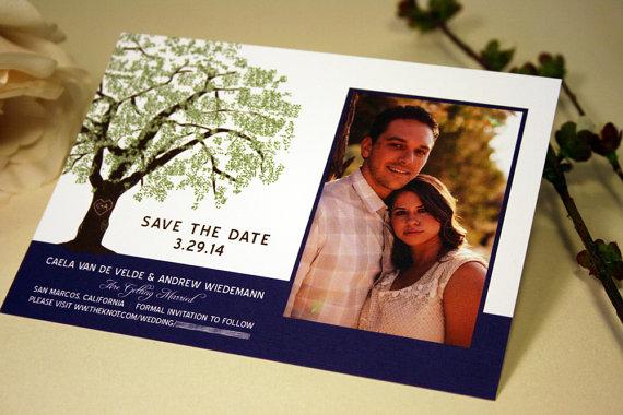 Mariage - SAMPLE Oak Tree Photo Save the Date Wedding Card, Grandfather Oak Tree, Rustic, Modern Invitation, RSVP, Save the Date, Brown, Green