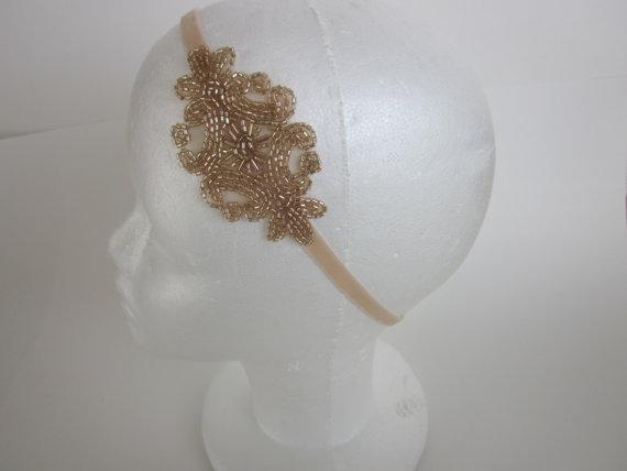 Mariage - Gatsby Headband 1920s Headband Flapper Headband Champagne Beading Champagne Ribbon