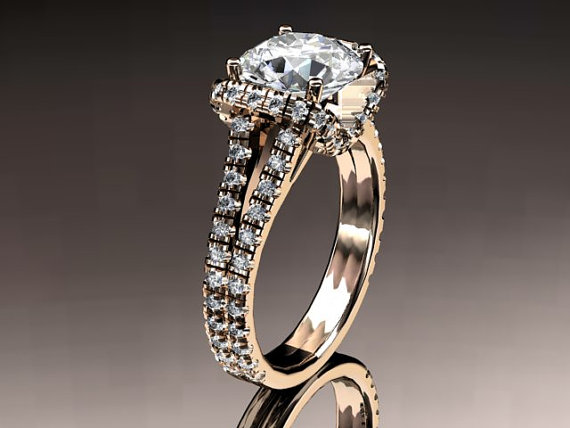 Mariage - 14kt rose gold diamond unique engagement ring,wedding ring ADER107