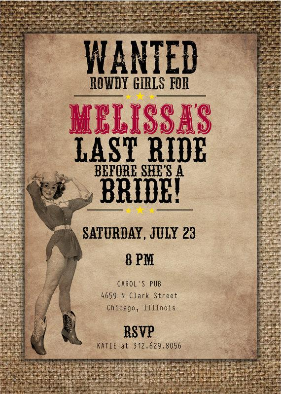 bachelorette partyhens night invitation brides last ride countrywestern theme with pin up cowgirl
